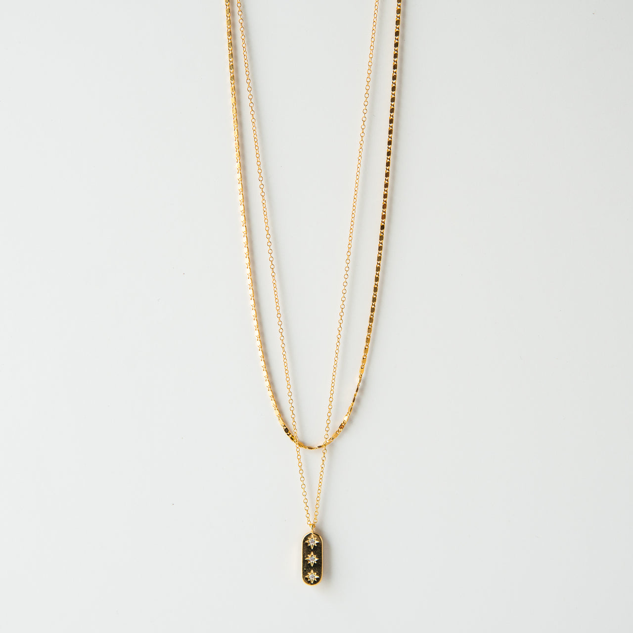 Lucky Stars Double Chain 14K Gold Plated