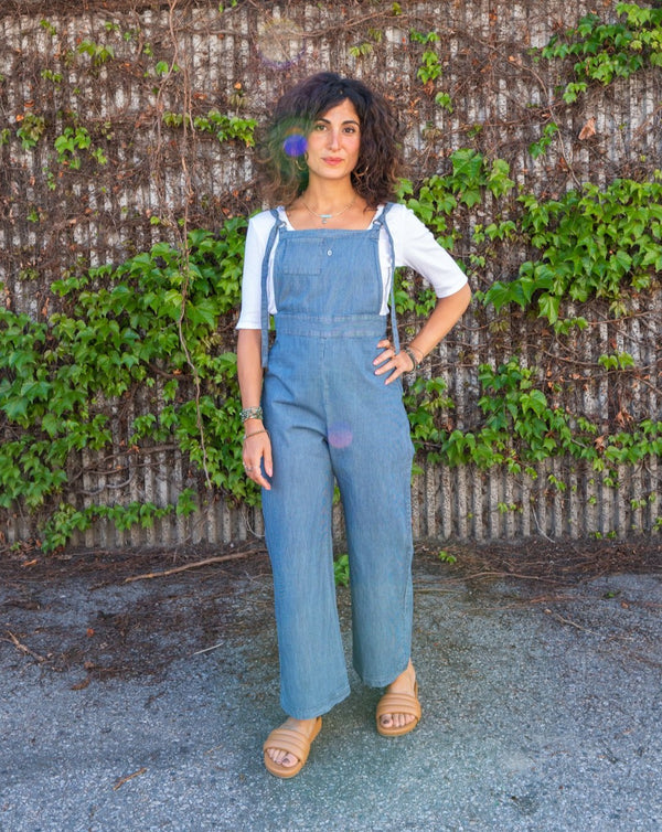 Cropped Overalls in Pinstripe