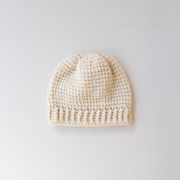 Washable Wool Baby Knit Hat Cream
