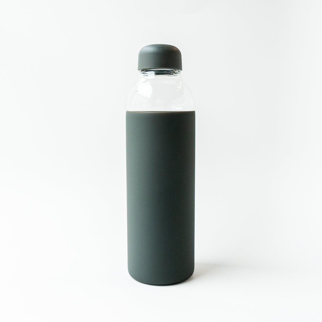 Glass Water Bottle - Charcoal