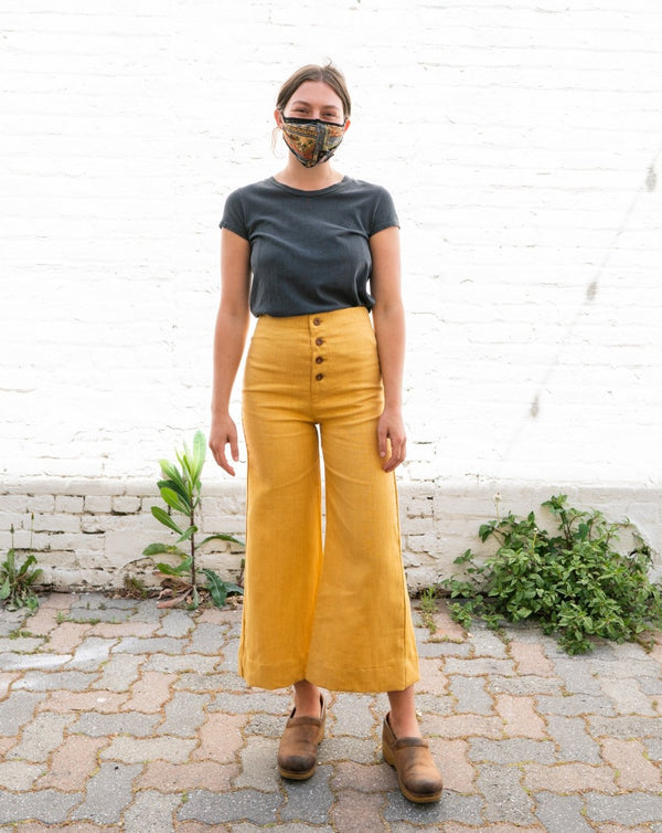 Brunch Crop Linen Pants in Dandelion