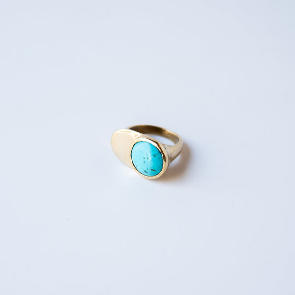 Turquoise & Brass Esposa Ring