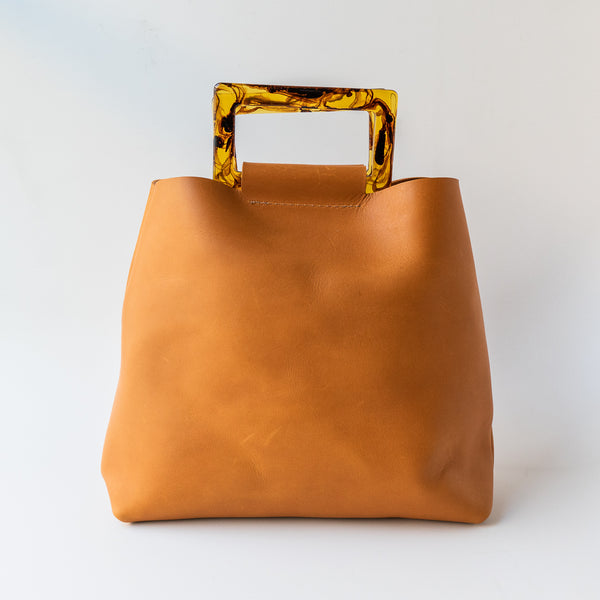 Acrylic Handle Purse in Tan