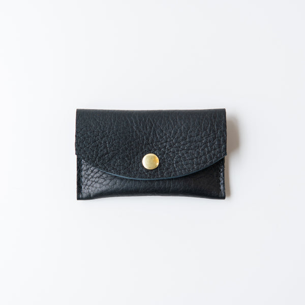 Leather Snap Wallet Black