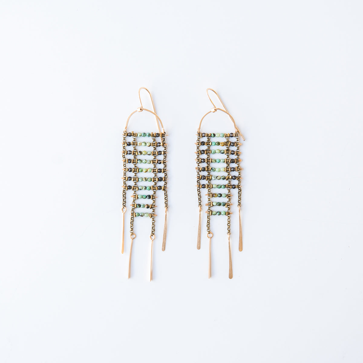 Green Turquoise and Brown Spinel Sky Dancer Earrings