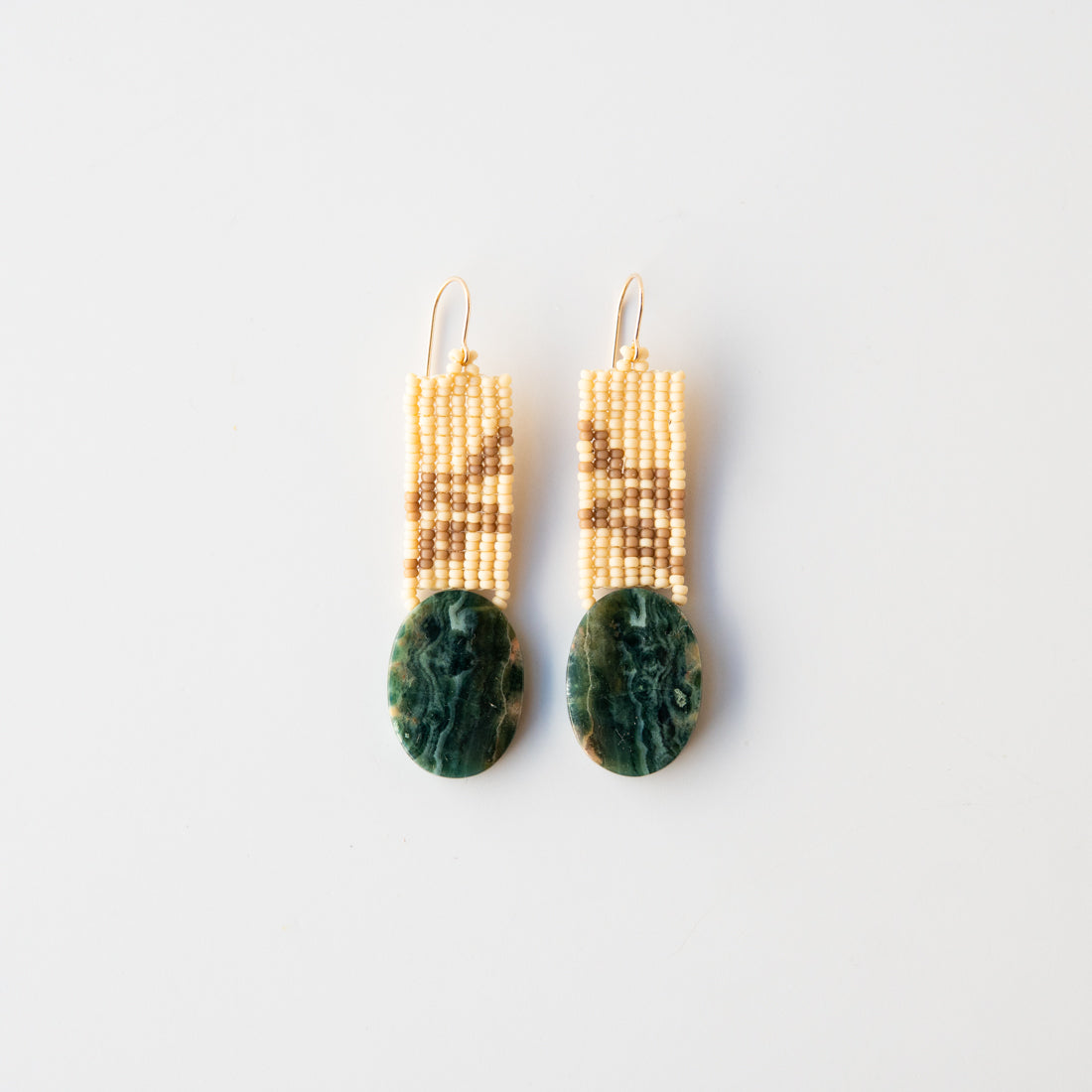 Sand Beaded Stone Earrings