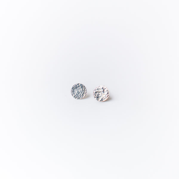 Hammered Silver Circle Studs Small
