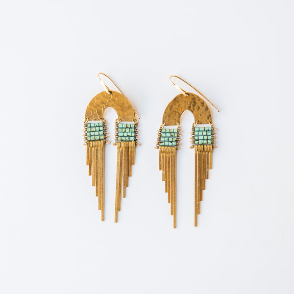 Turquoise Double Fringe Earrings