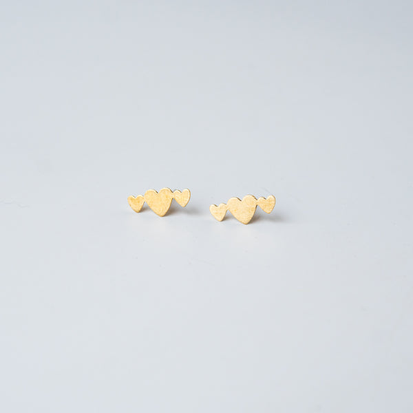 Three Hearts Stud Earrings