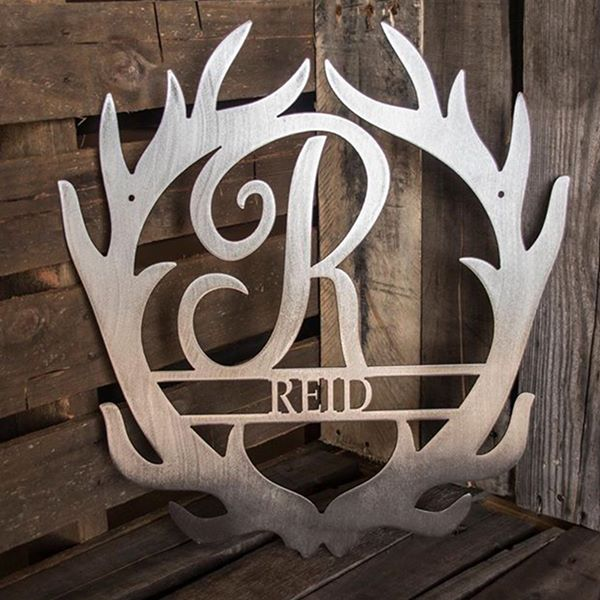 Antler Initial - Custom Engraved Name Monogram - Steel Wall Sign