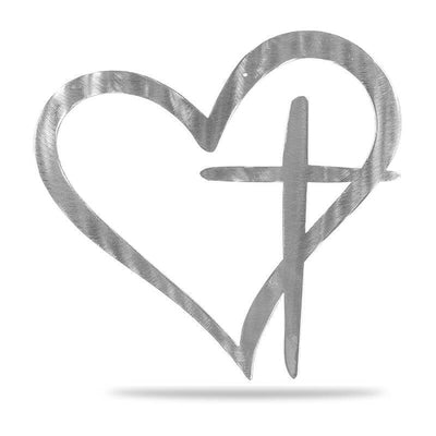 Heart Cross - Steel Wall Sign