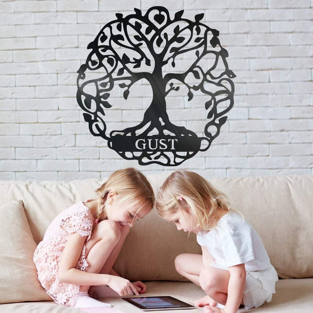 Family Tree Of Life - Custom Engraved Monogram - Steel Wall Sign