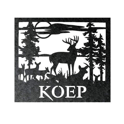 Country Outdoor Deer Moon - Custom Engraved Name Monogram - Steel Wall Sign