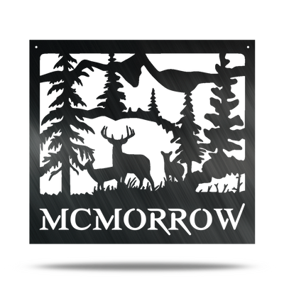 Country Outdoor Deer Mountain - Custom Engraved Name Monogram - Steel Wall Sign