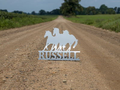 Running Horse - Custom Engraved Name Monogram Steel Wall Sign