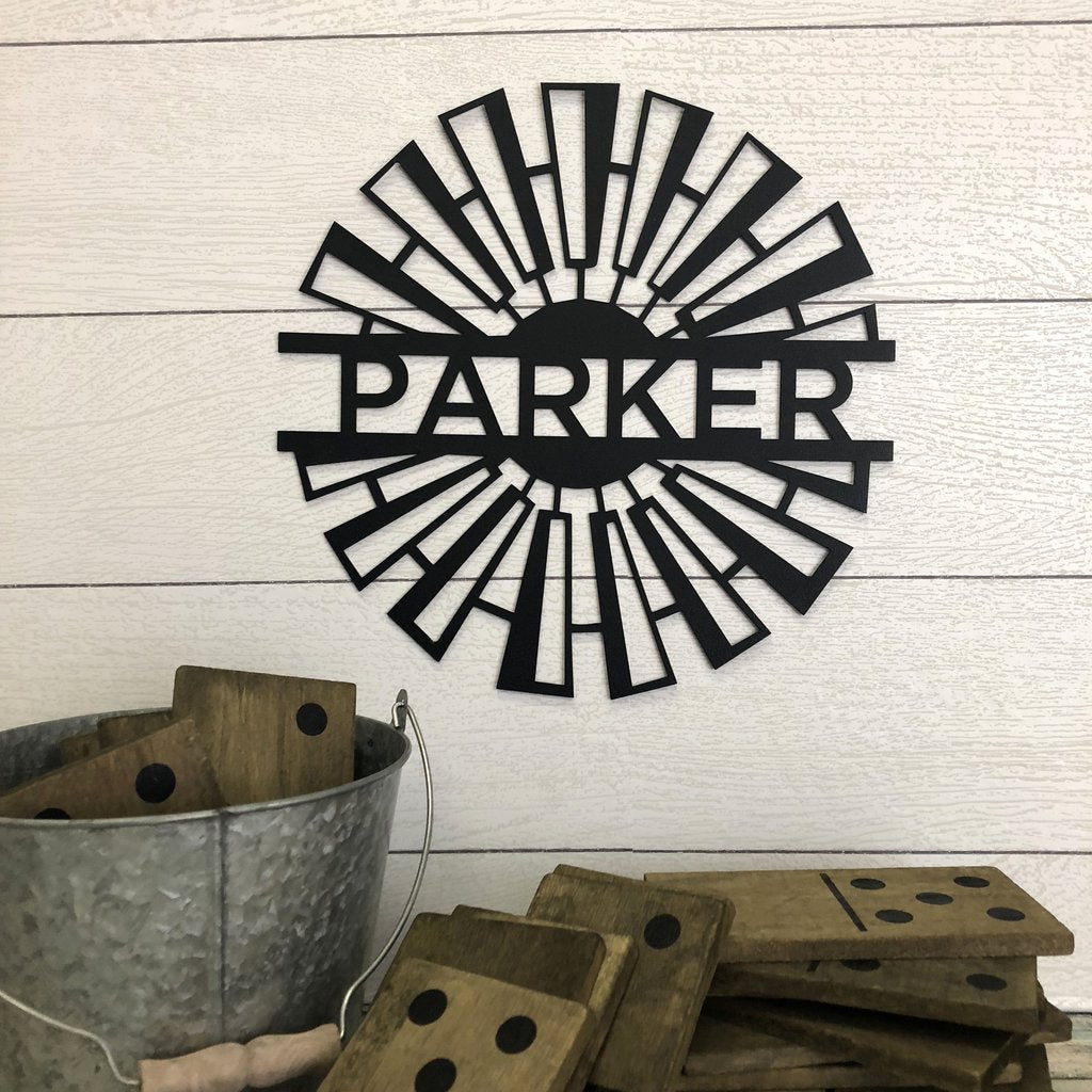 Windmill - Custom Engraved Name Monogram - Steel Wall Sign