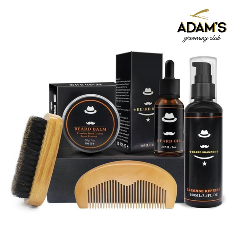 Deluxe Beard Growth Kit Oil + Shampoo + Balm + Comb + Brush