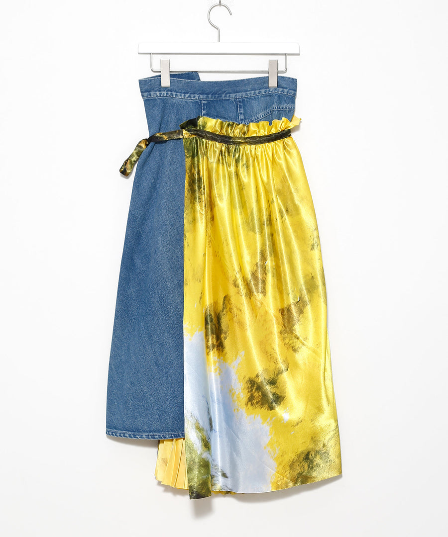Denim-based printed wrap skirt