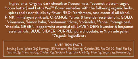 All the Wei Dark Chocolate Assortment Ingredients and Nutrition Facts