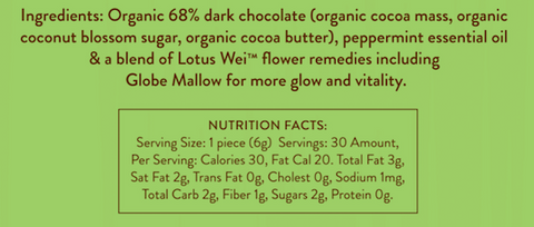 Wei Beautiful Dark Chocolate Ingredients and Nutrition Facts