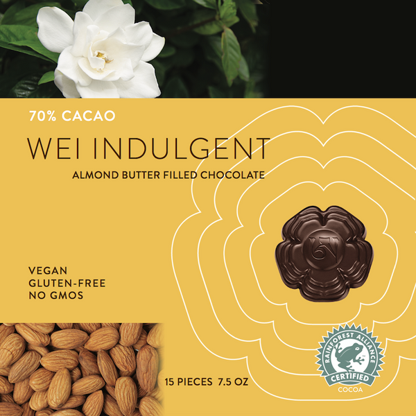 Wei Indulgent almond butter cups organic dark chocolate