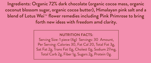 Wei Inspired Dark Chocolate Ingredients and Nutrition Facts