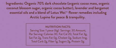 Wei Peace Dark Chocolate Ingredients and Nutrition Facts