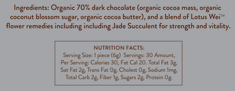 Wei Pure Dark Chocolate Ingredients and Nutrition Facts