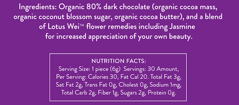 Wei Radiant Dark Chocolate Ingredients and Nutrition Facts