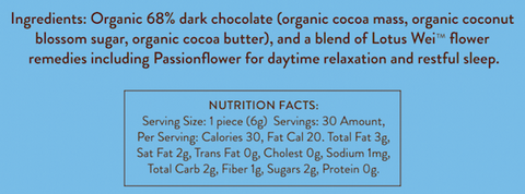 Wei Relaxed Dark Chocolate Ingredients and Nutrition Facts