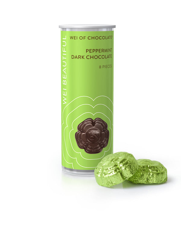 Wei Beautiful organic vegan dark chocolate with peppermint