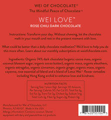 Wei Love Rose Cardamom Organic Vegan Dark Chocolate 74% cacao - Wei of Chocolate