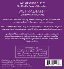 Wei Radiant Super Dark Chocolate - Organic, Vegan 80% cacao