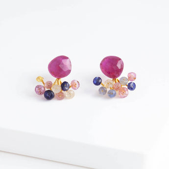 Fairy ruby and sapphire earrings