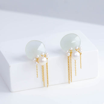 Fairy aquamarine and pearl earrings with chains