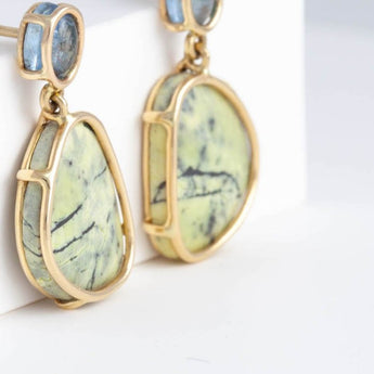 Moss aquamarine and yellow jasper Floating earrings