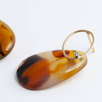 Agate Form earrings with diamond detail