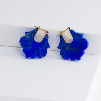 Crest lapis lazuli lotus earrings