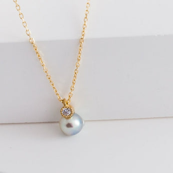 Baby Akoya pearl single pearl diamond necklace