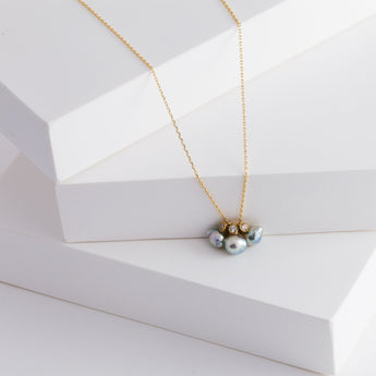 Baby Akoya pearl triple pearl diamond necklace