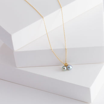 Baby Akoya pearl double pearl necklace
