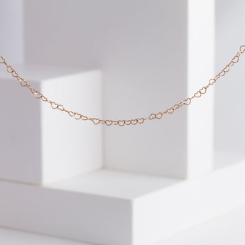 Heart chain long necklace (rose gold)