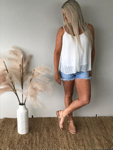 Pleated White Cami