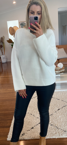 White Knit Ribbed Jumper