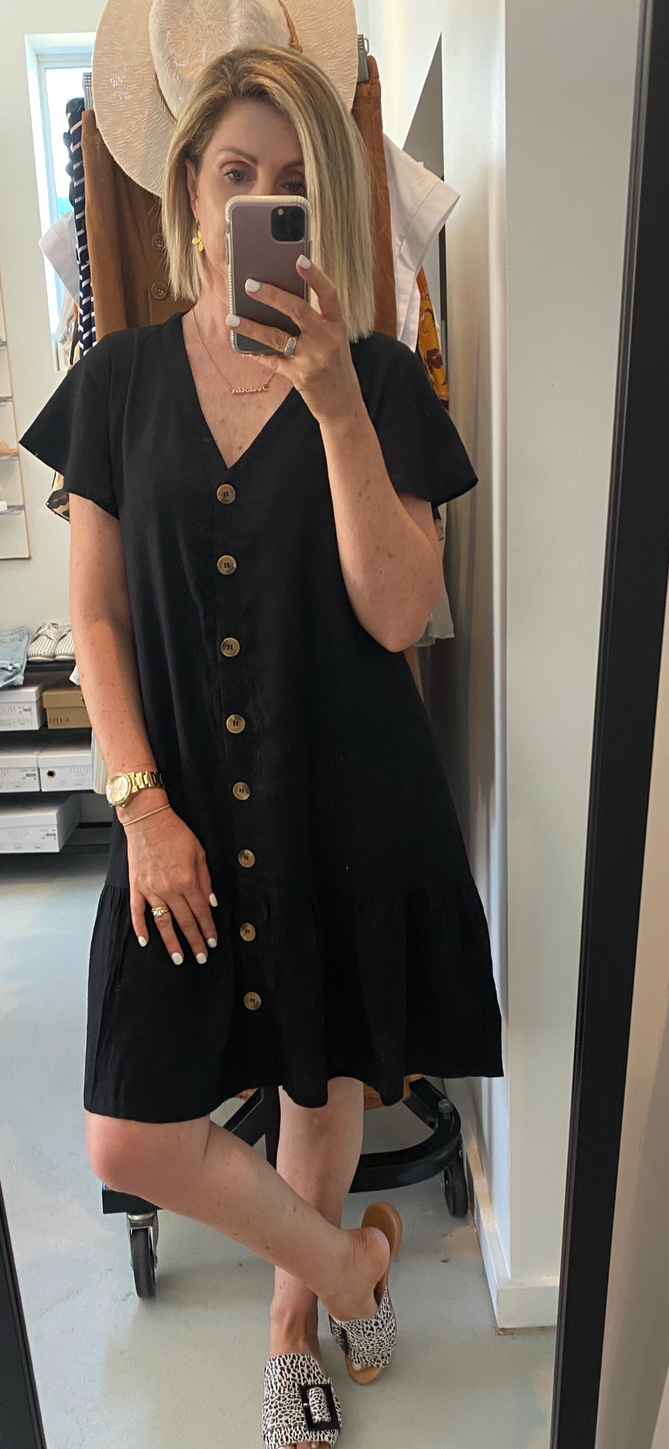 Black Linen Mini Dress