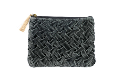 Velvet Weaved Pouch (Dark Grey)