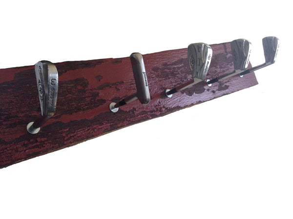 Golf Club Coat Rack - five (red barn wood) - Another Rinse