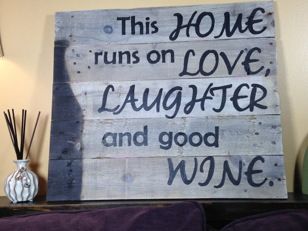 "Reclaimed Wood Wall Art - ""Wine Home"" - Another Rinse"