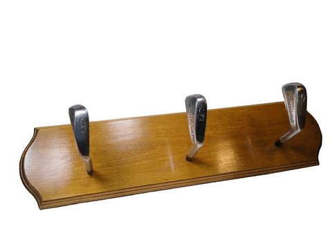 Golf Club Coat Rack - triple (Golden Oak) - Another Rinse