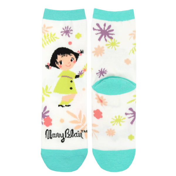 Mary Blair Whimsical Girl with Pigtails Novelty Kids Cotton Crew Socks